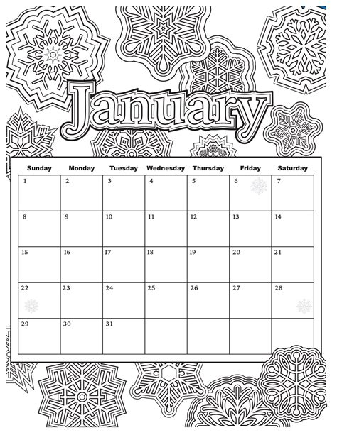 january calendar coloring pages added jan 9 start your year off right with this