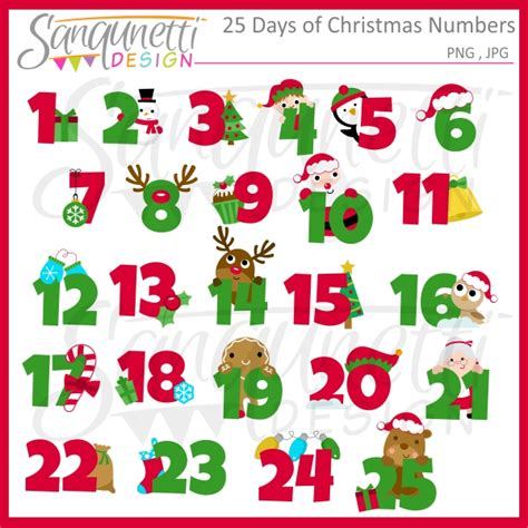 printable calendar numbers christmas new calendar sanqunetti design 25 days of christmas numbers clipart