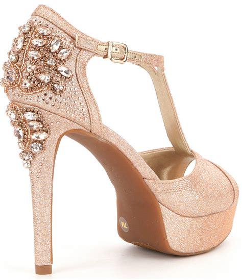 Wedges Emboss Glitter Flare Dress lyst gianni bini laurito glitter ornament platform dress sandals