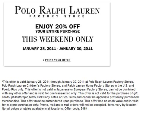 printable polo outlet coupons printable ralph lauren factory coupon 20 off