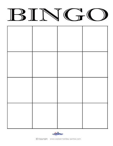 Bingo Cards Template bingo on
