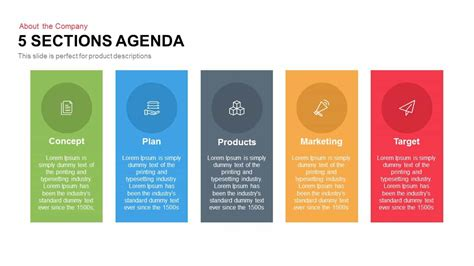 5 Sections Agenda Powerpoint Keynote Template Slidebazaar Meeting Agenda Template Powerpoint