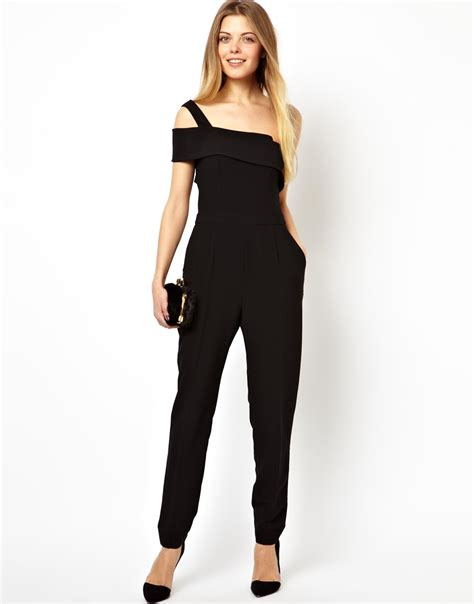 One Shoulder Black Jumpsuit asos jumpsuit with one shoulder in black lyst