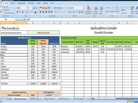 landlords spreadsheet template rent and by timesavingtemplates