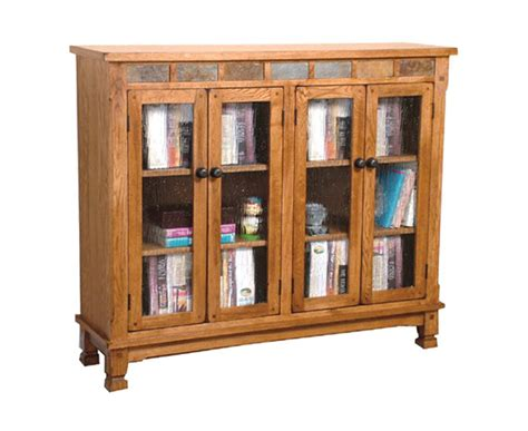 Rustic Oak 4 Door Bookcase Oak Four Door Bookcase Bookcase With Doors Plans