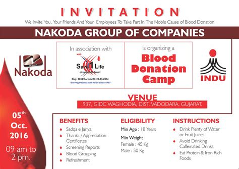 Blood Donation Letter Invitation Gallery Nakoda Products