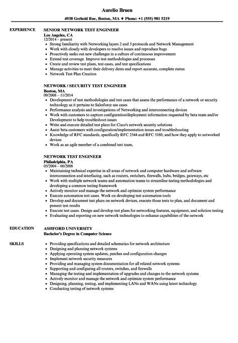 network test engineer resume exles network test engineer resume sles velvet