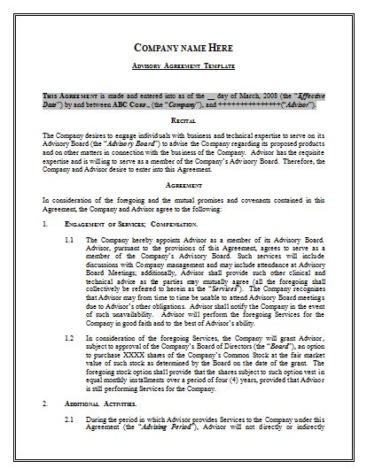 Advisory Agreement Template By Agreementstemplates Org Work For Hire Agreement Template 2