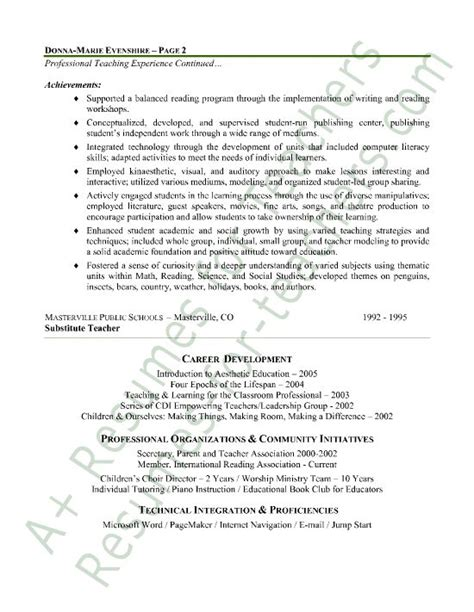elementary teacher resume sle page 2 teaching