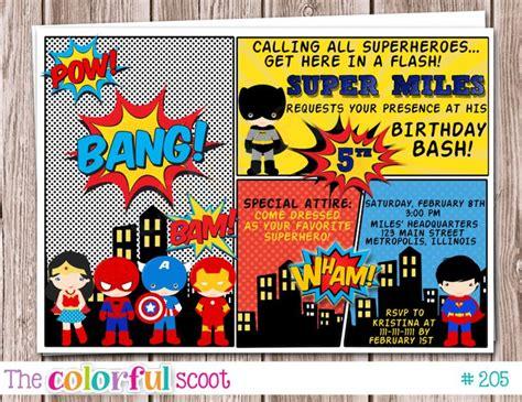 superhero birthday invitation superhero party by