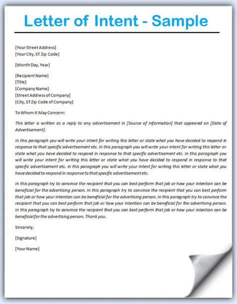 Letter Of Intent Exle Buying A Business letter of intent template template business