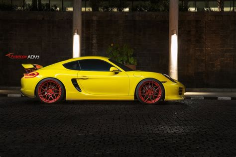 porsche cayman s yellow yellow cayman s looking jaunty on matte custom wheels