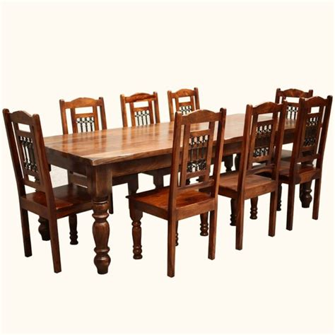 Dining Table Chair Designs Furniture Brown Varnish Wooden Dining Table Sets With Eight Chair Using Black Iron Spat Back