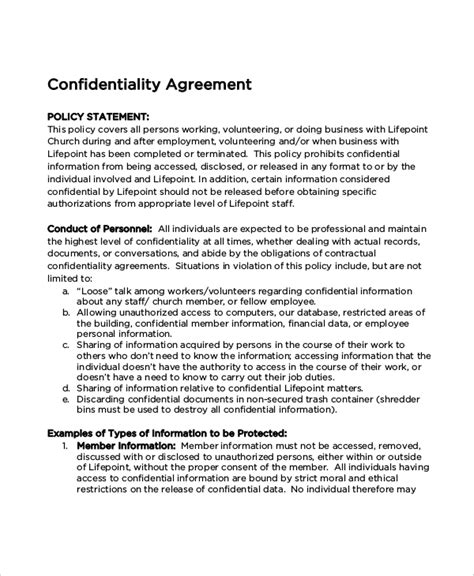 Church Confidentiality Agreement Templates Download Free Premium Templates Forms Sles Confidentiality Policy Template Free
