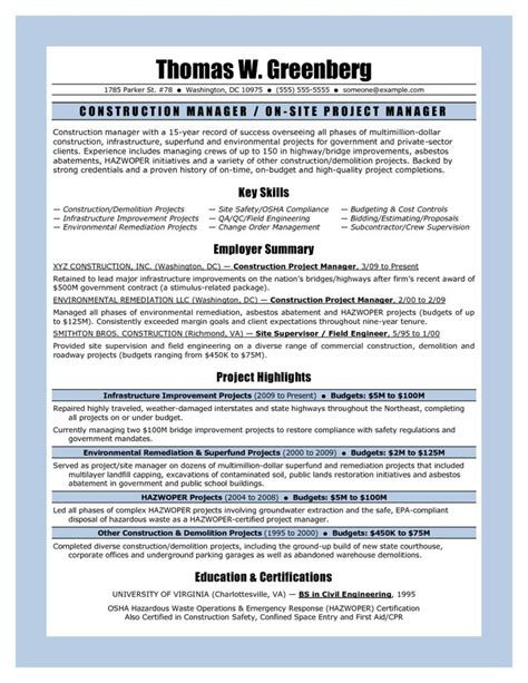 constructionect manager resume senior samples objective doc