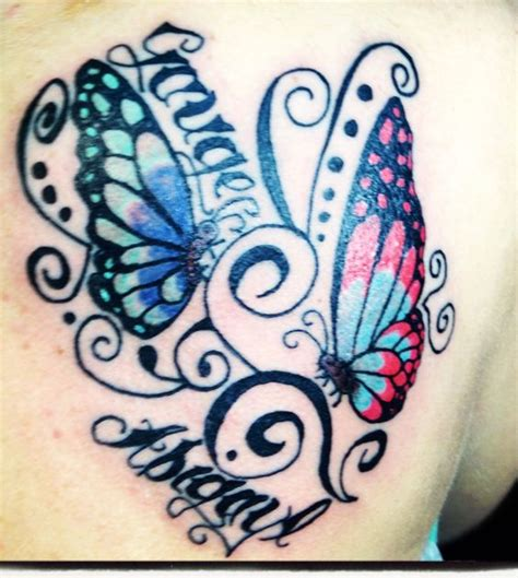 tattoo butterfly with names butterfly tattoo with children s names tattoo ideas