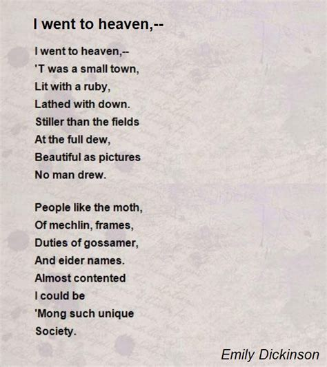 heaven poem i went to heaven poem by emily dickinson poem