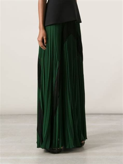jean paul gaultier pleated maxi skirt in green lyst