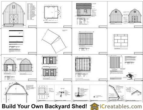 14x14 Shed Plans by 14x16 Gambrel Shed Plans 14x16 Barn Shed Plans