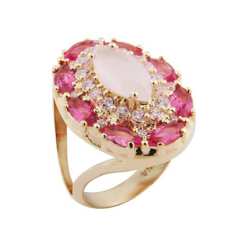 Maxi Cristal brilho folheados anel maxi cristal rosa semijoia