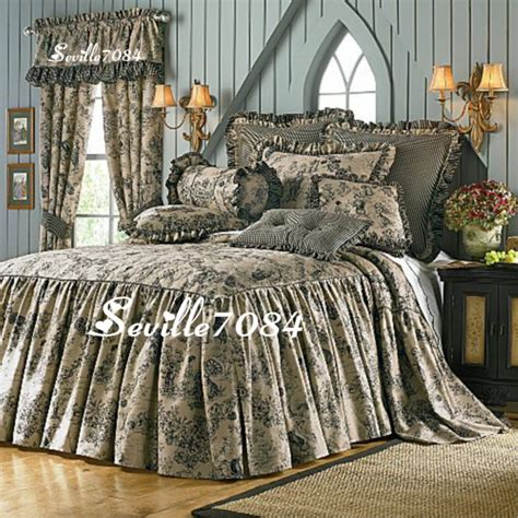 bedspreads and drapes 13p bedspread queen enchanted toile tan black pictorial