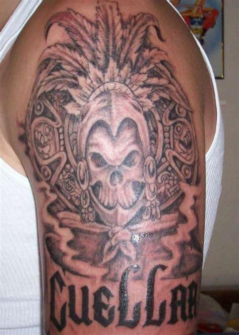 344 Tattoos Crazy Half Sleeve Tattoo Designs Half Aztec Skull Tattoos Designs