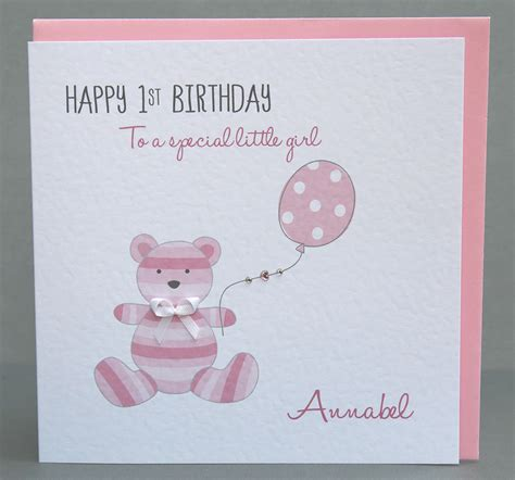 Handmade Greetings For Birthday - handmade personalised 1st birthday card teddy ebay
