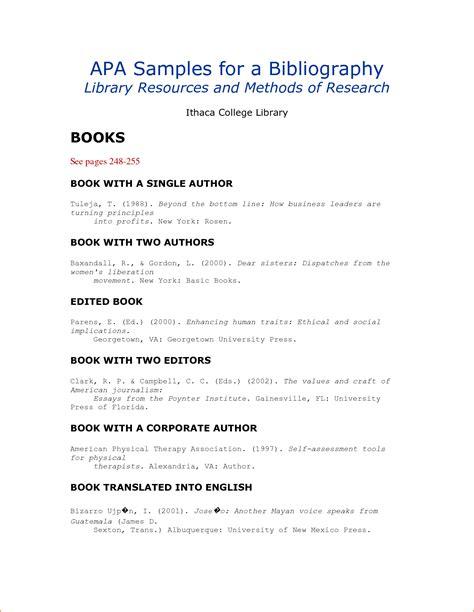 bibliography template 9 apa format bibliography exle bibliography format