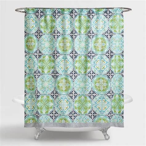 blue green shower curtains blue and green gabriella shower curtain world market