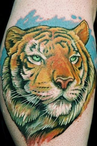 tiger portrait tattoo by aaron bell at slave to the needle