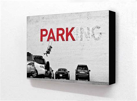 Banksy Parking Swing banksy parking on swing 2 tone block mount camden town poster company