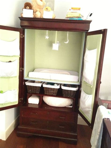 Baby Room Armoire by Converted Armoire To Changing Station For Baby Nursery