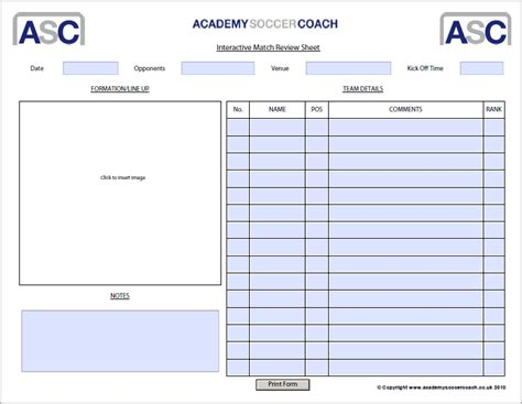 football match report template interactive session plans academy soccer coach asc