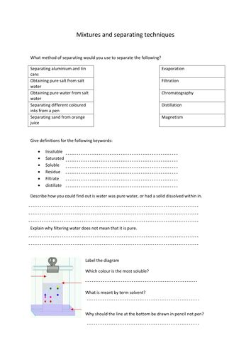 Chemistry Separation Techniques Worksheet by Mixtures And Separating Techniques By Hanmphillips