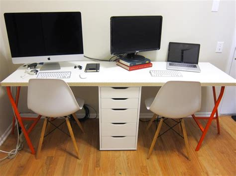 desk for two office makeover part 2 diy ikea linnmon desk for two