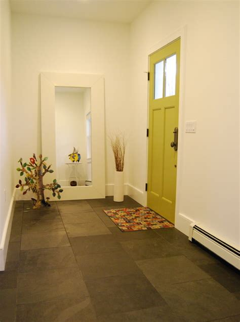 houzz tile entryway design ideas remodel pictures eclectic foyer with slate floor and bright green door