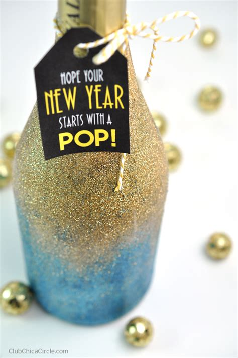 new year gift to host glittery chagne bottle diy club chica circle where