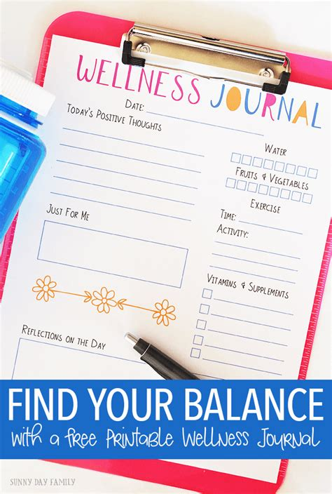 Find Your Balance With A Free Printable Wellness Journal Sunny Day Family Journal Ad Template