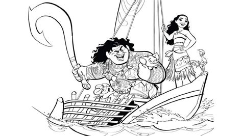 moana boat drawing you ll love these printable moana coloring pages d23