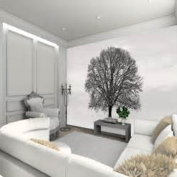 black and white tree wall mural design decoration for