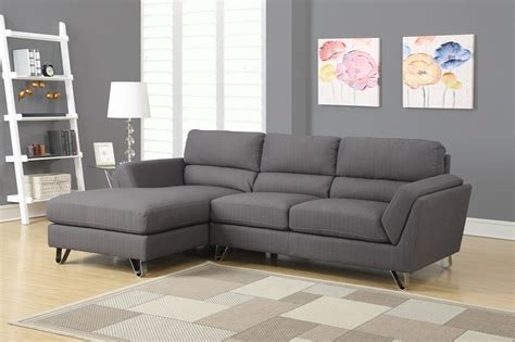 charcoal gray linen sofa sectional from monarch 8210cg