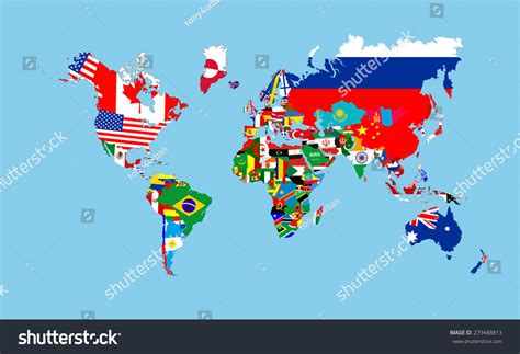 world map with country name and flag world countries flags map symbols complete stock