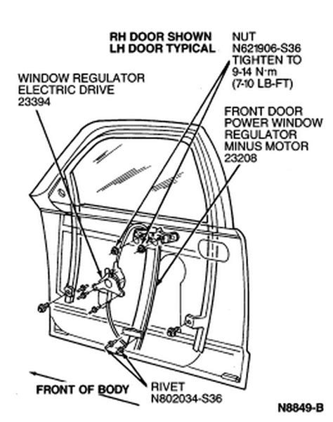 power window parts diagram need for removal of the window regulator 1994