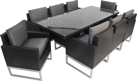 Patio Black Chair With Cuhsion Wicker Patio Set For Contemporary Outdoor Dining Furniture