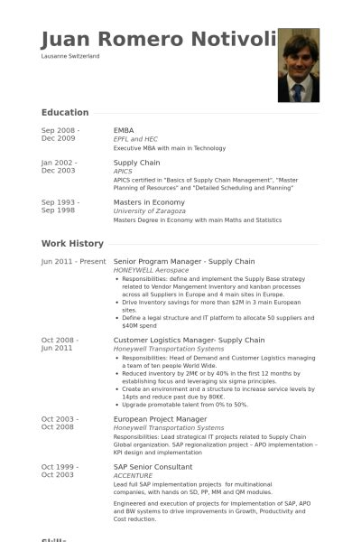Supply Chain Manager Resume by Senior Program Manager Resume Sles Visualcv Resume