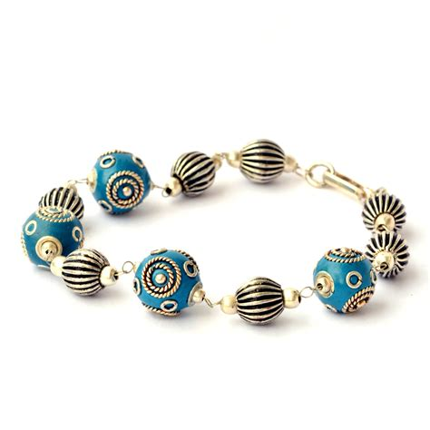 Bracelets For Handmade - handmade bracelet blue with silver plated