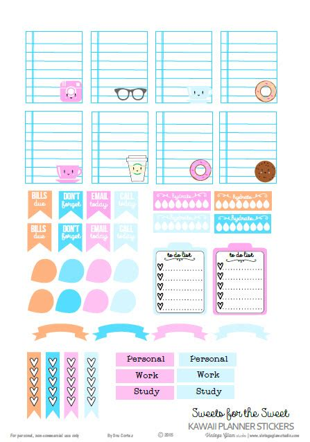 download printable organizer kawaii planner stickers free printable download free
