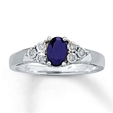 sapphire ring accents 10k white gold