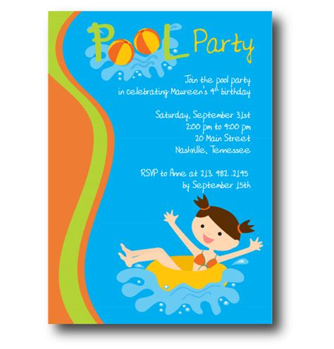 free pool party invitation template cimvitation