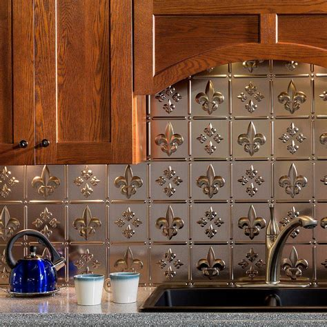 fasade kitchen backsplash fasade 24 in x 18 in fleur de lis pvc decorative tile